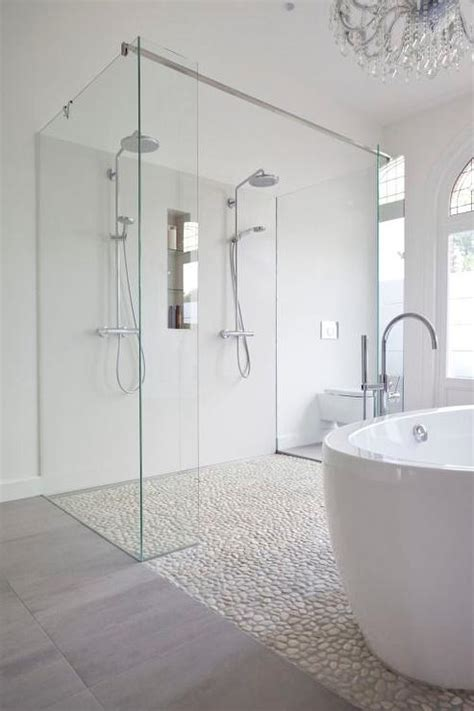 River Rock Bathroom Ideas Bathroom Shower With River Rock Floor Contemporary Bathroom