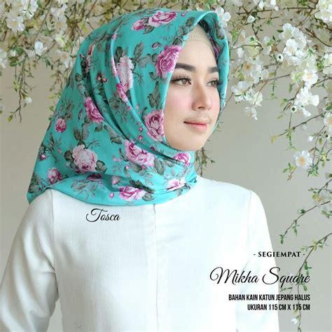 jilbab segi empat rawis motif bunga warna soft islam