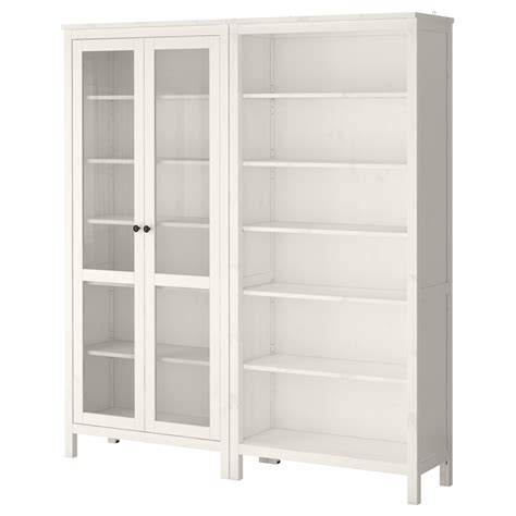 Ikea White Hemnes Bookcase Hemnes Storage Combination W Glass Doors White Stain