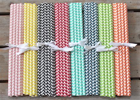 How To Make Paper Straws - 24 chevron paper straws your choice of color by