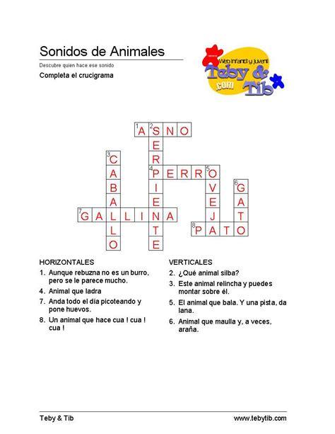 preguntas faciles sobre animales 161 que animalada de crucigrama teby y tib portal infantil