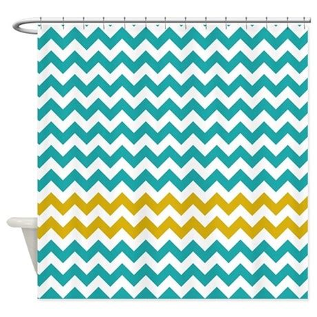Turquoise Chevron Curtains Turquoise Yellow Chevron Stripes Shower Curtain By Littlebugdesigns