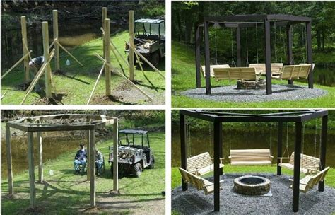 bench swing pit pergola firepit swinging benches outdoor spaces