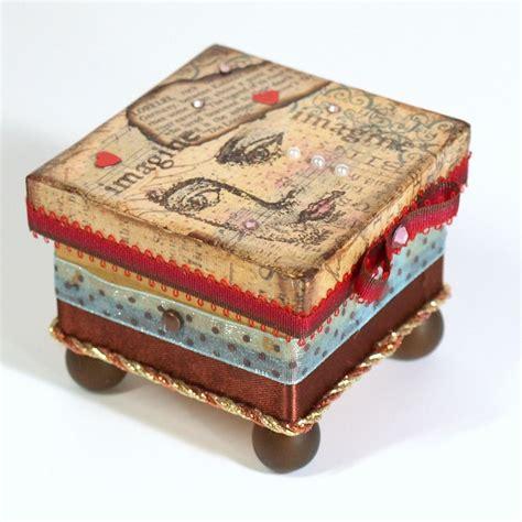 Decoupaged Boxes - mixed media trinket box decoupaged jewelry box keepsake