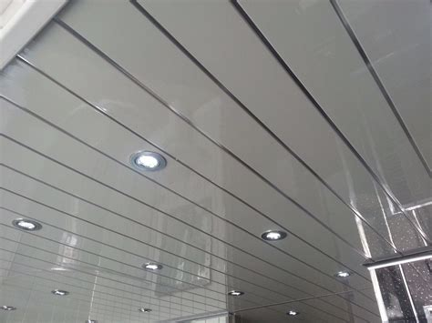 White Grooved Ceiling Cladding With Chrome Strip 3m Uk Bathroom Ceiling Material