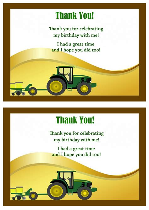 free printable john deere thank you cards john deer thank you cards birthday printable