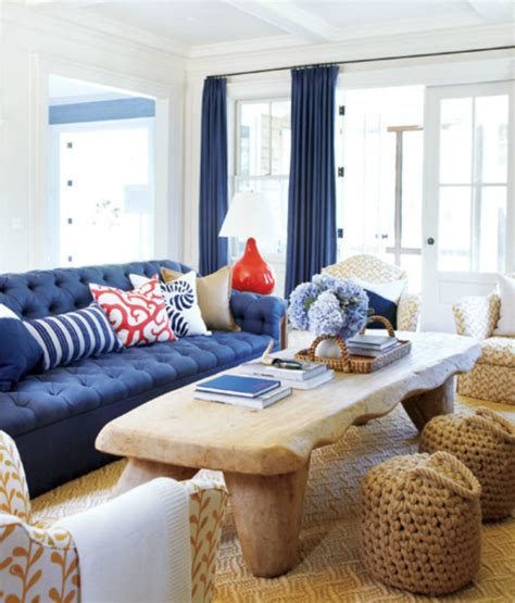 navy blue living room coastal home august 2012