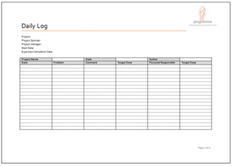 project log template 7 free project log templates excel pdf formats