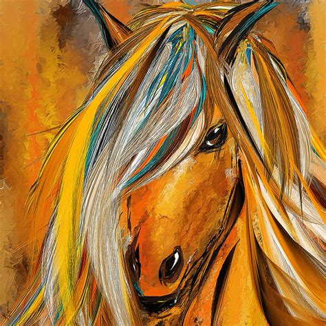 yellow and turquoise garden painting by lourry legarde born free colorful horse paintings yellow turquoise