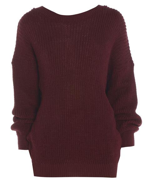 Jumper Colour Womens Plain Colour Baggy Jumper Chunky Sweater