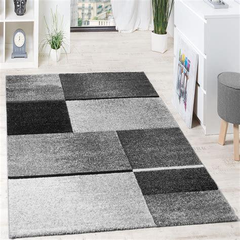 teppich hochwertig designer teppich felder kariert grau anthrazit design teppiche