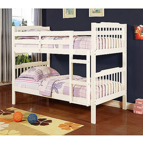 Bunk Bed In Walmart Elise Bunk Bed With Set Of 2 Mainstays 6 Quot Coil Mattresses Soft White Walmart