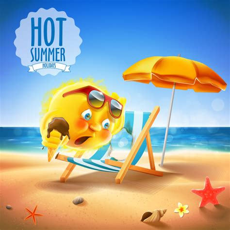 funny images of hot sun hot summer holiday background with funny sun vector 01