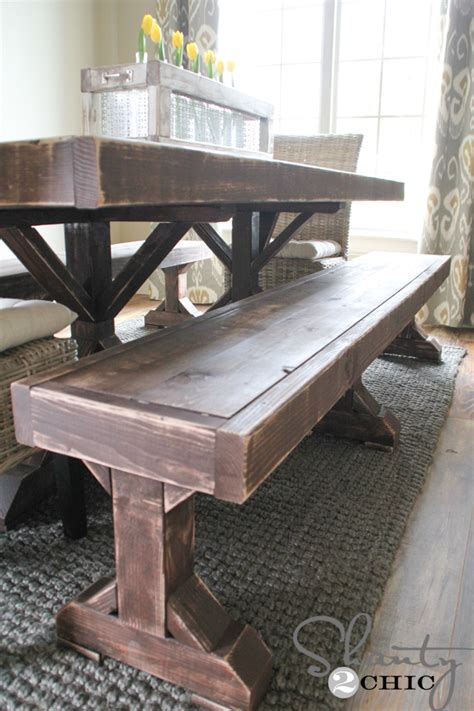 Diy Dining Room Table With Bench White Build A Farmhouse Bed With Arch Free And