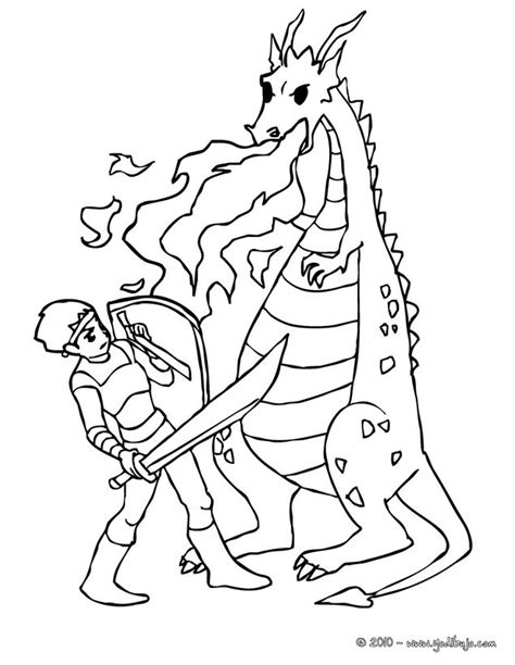 caballero infantil caballero fantasia dibujo projecte dibujos para colorear un combate de dragon contra