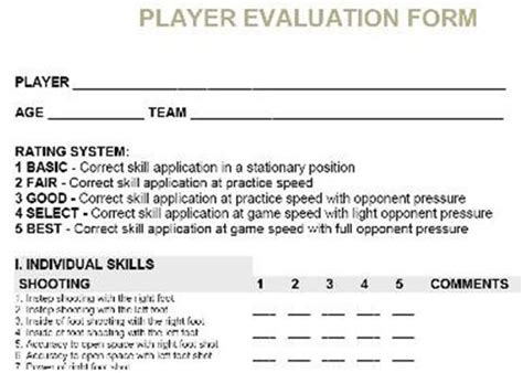 us youth soccer player card template soccer player evaluation form search soccer