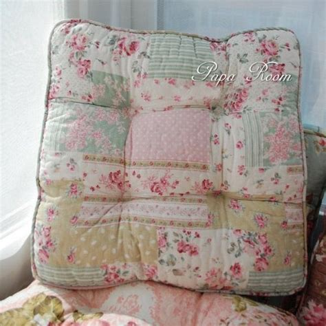 amazon com shabby and vintage patchwork like soft chair pad w filling 122 home kitchen