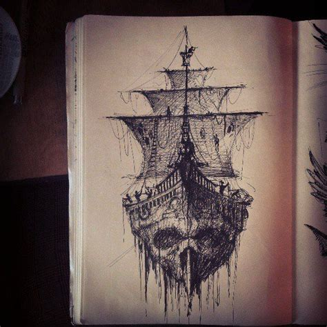 ghost pirate ship tattoo sketch