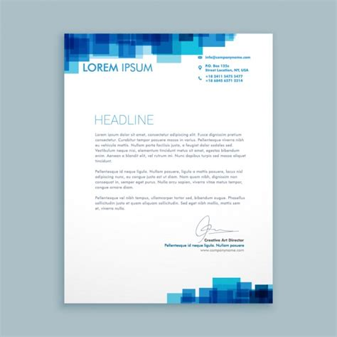 Business Letter Template Design Business Letter With Blue Squares Vector Free