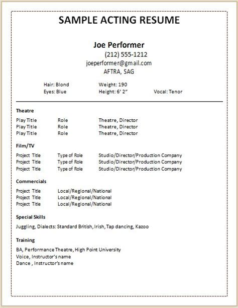 professional acting resume template 17 melhores ideias sobre acting resume template no