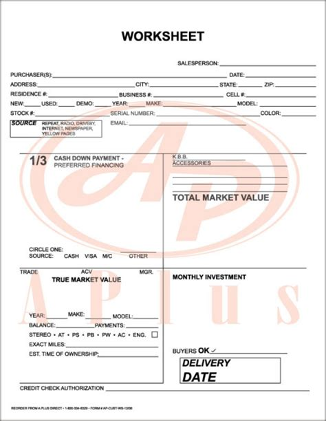 Used Car Worksheet by Quote Estimate Template