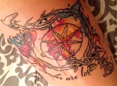 water color map compass tattoo artist jade gibson lizard