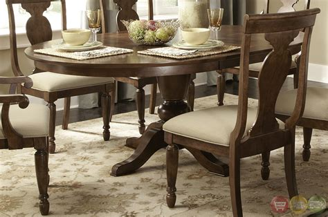 Rustic Formal Dining Table Rustic Oval Pedestal Table Formal Dining Furniture Set