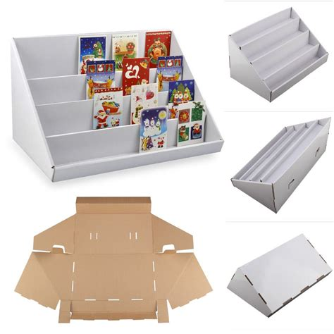 Commericial Greeting Card Templates For Retail Photo Store by 2 X 4 Tier White Collapsible Cardboard Greeting Card
