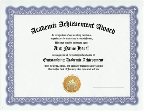 achievement award template academic achievement awards certificates