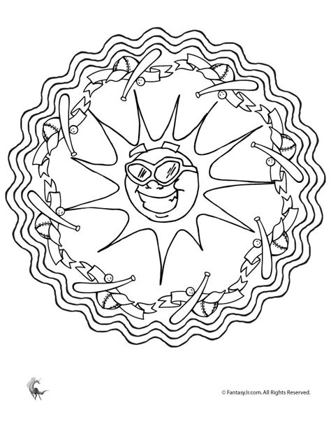 summer mandala coloring pages summer baseball sun mandala coloring page woo jr kids