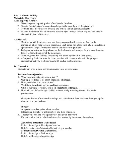 algebra lesson plan template math lesson plan sle for demo teaching