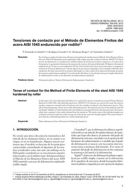 (PDF) Tensiones de contacto por el Método de Elementos