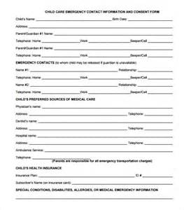 emergency contact form template for child emergency contact forms 11 free documents in