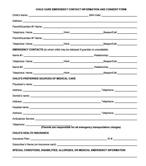 emergency contact forms 11 download free documents in