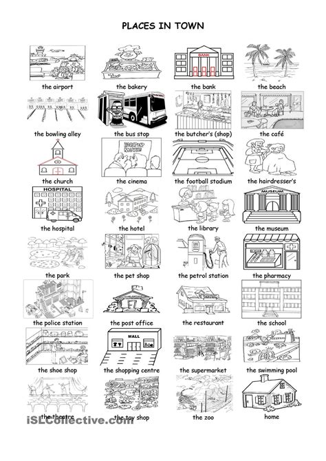 printable area en espanol places in town places in town pinterest english