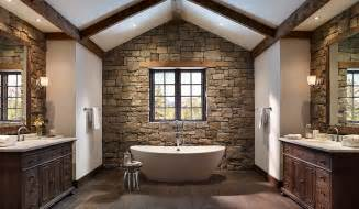 beams create cozy ambiance the bathroom design eldorado stone modern bathrooms natural for wall decoaration