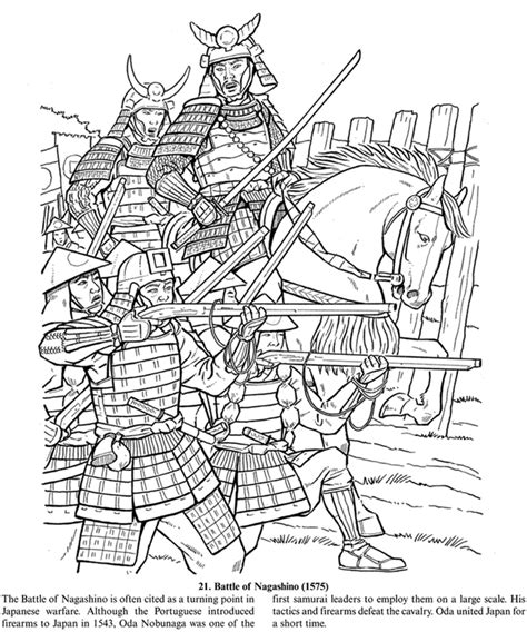 Welcome To Dover Publications Samurai Coloring Pages
