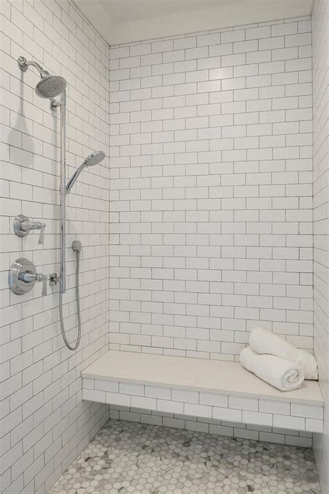 Shower with Floating Marble Bench   Transitional   Bathroom