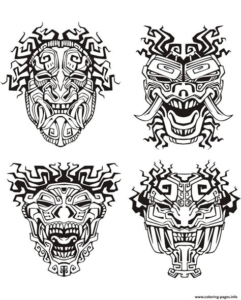printable aztec mask adult mask inspiration inca mayan aztec coloring pages