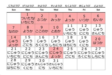 Japanese Calendar A Chart For Colors In Japanese Kanji Is On The Left And