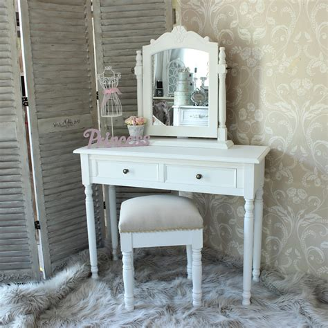 white dressing table stool and swing mirror shabby chic