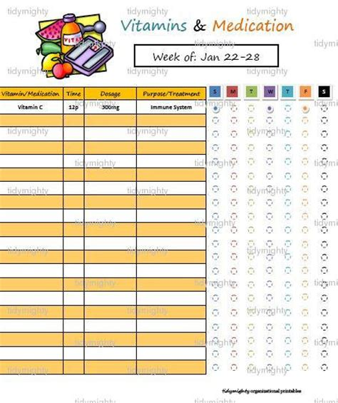 Medication Spreadsheet by Vitamin Medication Tracker Organizer Printable By