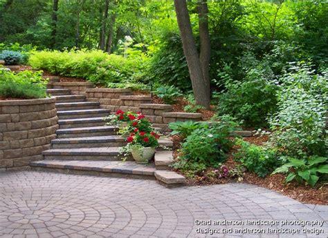 Stepped Garden Design Ideas Driveway Steps Leading Up A Curving Hillside Minnesota Landscape Design Contemporary Patio