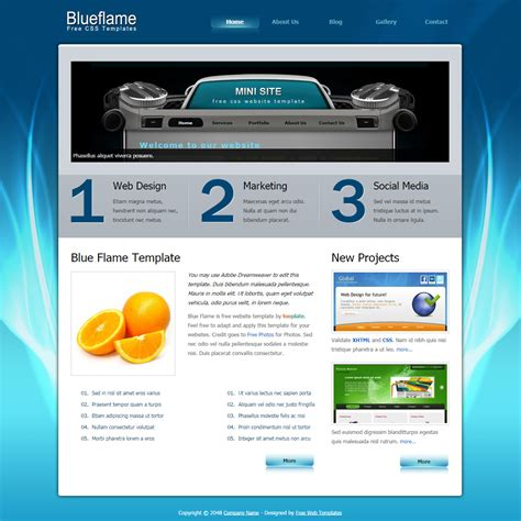 Blue Flame Free Html Css Templates Html And Css Templates