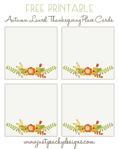 Place Cards Free Printable Templates by 6 Best Images Of Free Printable Thanksgiving Placecards