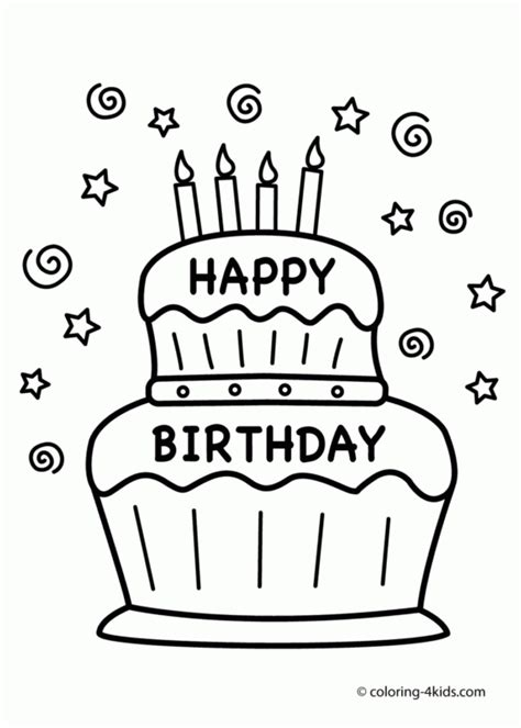 coloring pages beautiful birthday cake coloring page
