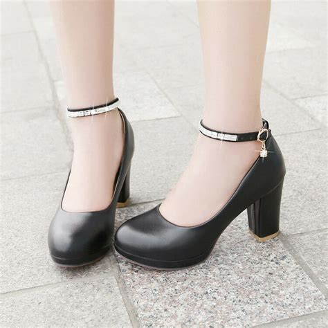 womens black white block heels pu leather toe pumps dress shoes size 8 ebay