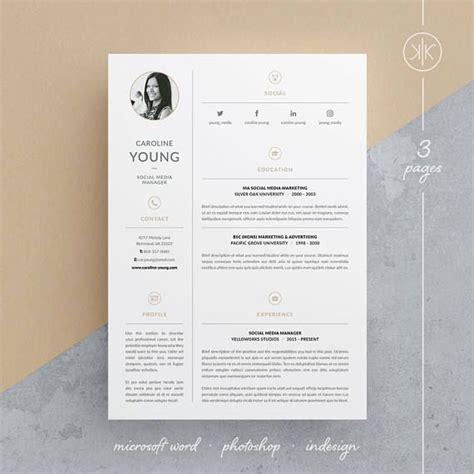 Lebenslauf Vorlage Photoshop caroline resume cv template word photoshop indesign professional resume design cover