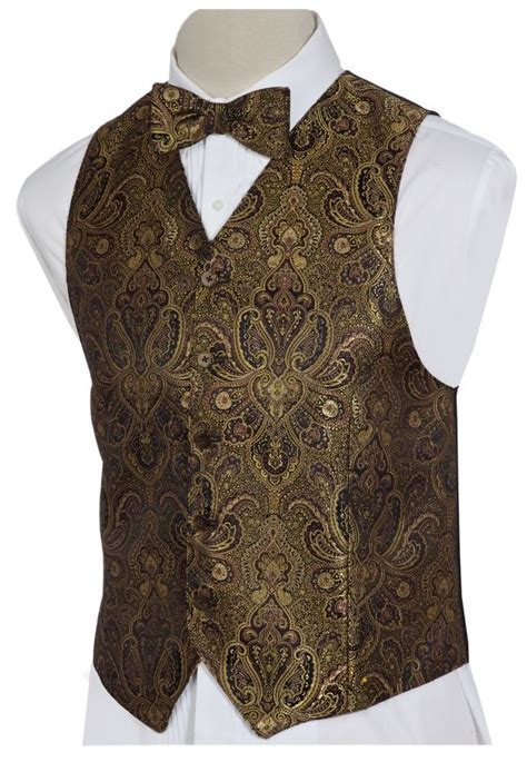 gold pattern waistcoat mens gold black paisley brocade vest vests by charlotte