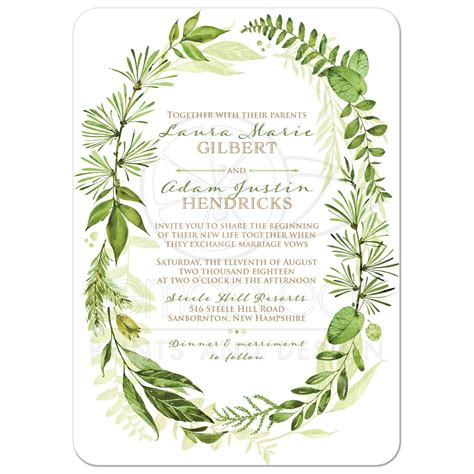 A Wedding Invitation by Greenery Foliage Wedding Invitation Watercolor Leaves